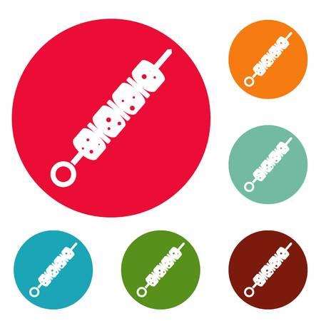 Shish kebab icons circle set vector isolated on white background