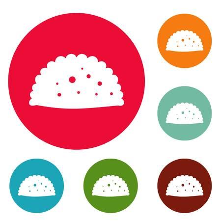 Pattie icons circle set vector isolated on white background Illustration