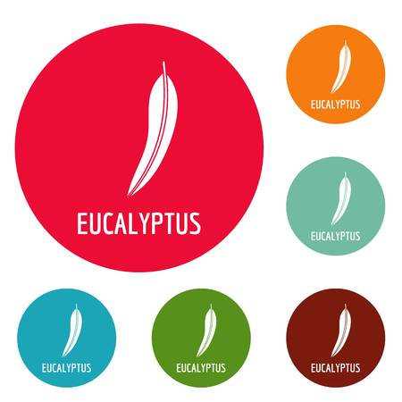 Eucalyptus leaf icons circle set vector isolated on white background