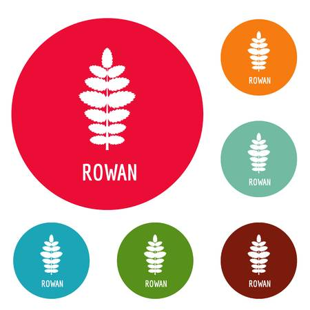 Rowan leaf icons circle set vector isolated on white background Illustration