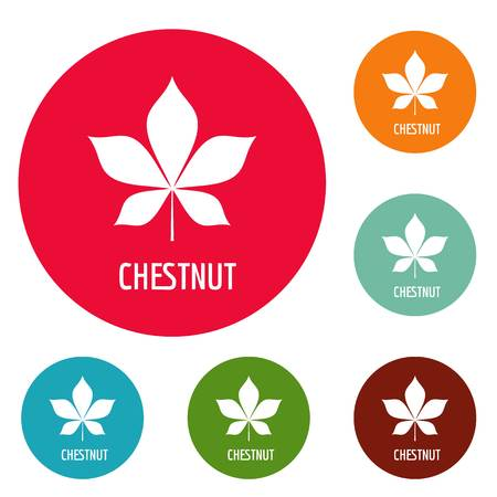 Chestnut leaf icons circle set vector isolated on white background