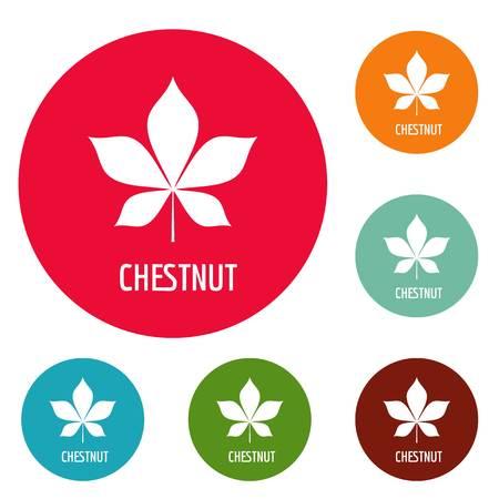 Chestnut leaf icons circle set vector isolated on white background