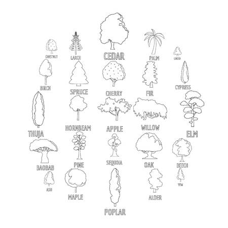 Tree types icons set. Outline illustration of 25 tree types vector icons for web