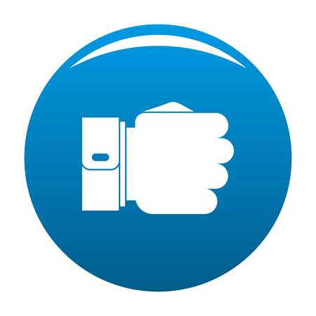 Hand fist icon vector blue circle isolated on white background  Illustration