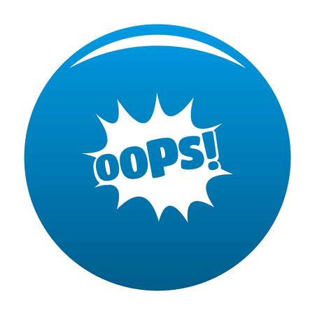 Comic boom oops icon vector blue circle isolated on white background