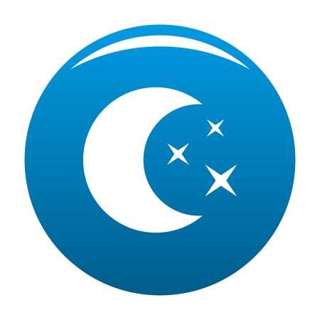 白い背景に隔離された月の夜のアイコンベクトル青い円