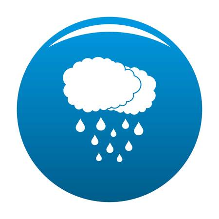 Cloud rain icon vector blue circle isolated on white background