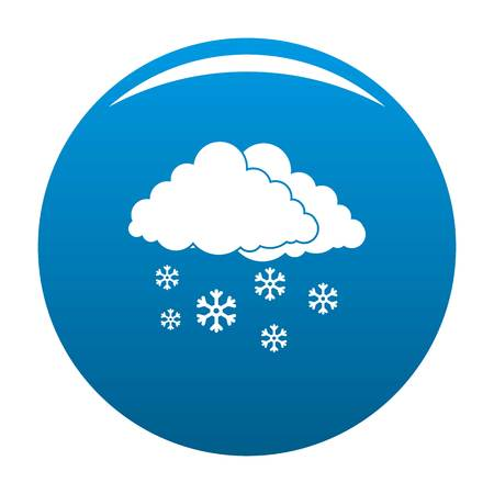 Snow cloud holiday icon vector blue circle isolated on white background