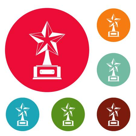 Star award icons circle set vector isolated on white background Vectores
