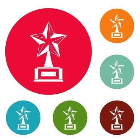 Star award icons circle set vector isolated on white background Ilustração