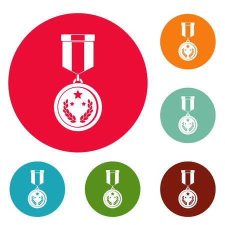 Medal icons circle set vector isolated on white background