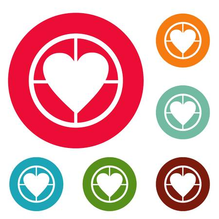 Gunpoint heart icons circle set vector isolated on white background