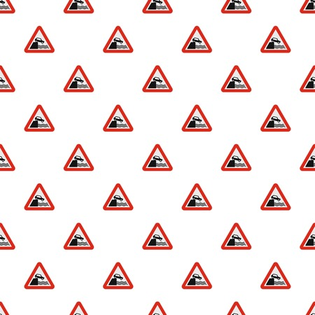 Car on a precipice over water pattern seamless in flat style for any design Illustration