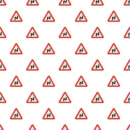 Dangerous turn left pattern seamless in flat style for any design Ilustrace
