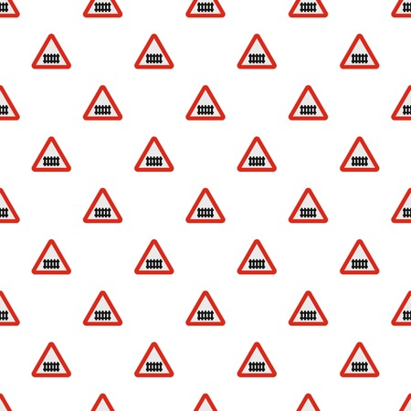 Railroad crossing with a barrier pattern seamless in flat style for any design Ilustração