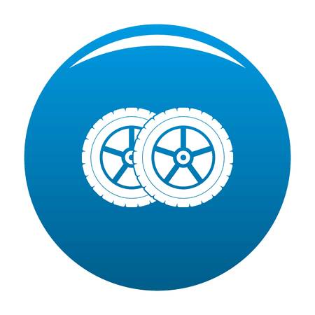 Car tyre icon vector blue circle isolated on white background