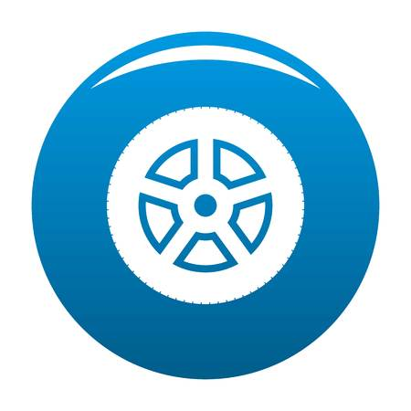 Wheel icon vector blue circle isolated on white background