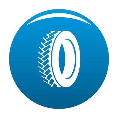 One tyre icon vector blue circle isolated on white background