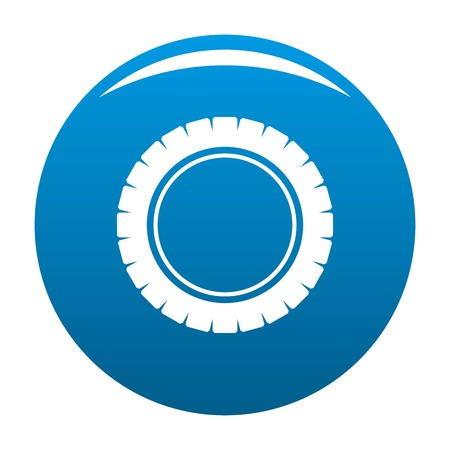 Single tire icon vector blue circle isolated on white background Vettoriali