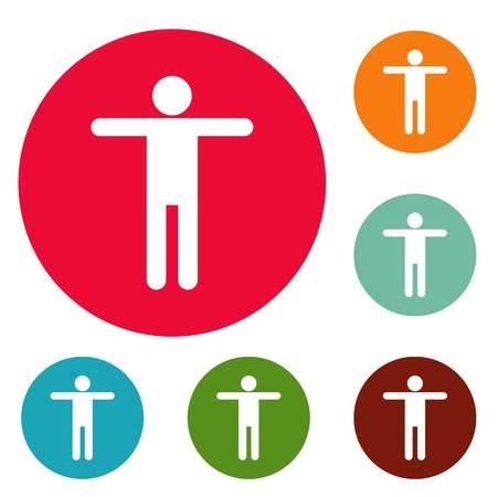 Stick figure stickman icons circle set vector isolated on white background Illustration