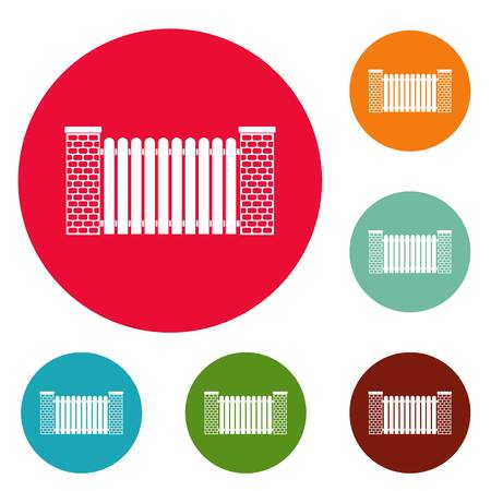 City fence icons circle set vector isolated on white background Vectores