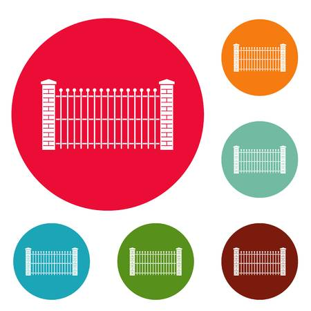 Brick and metal fence icons circle set vector isolated on white background Illustration