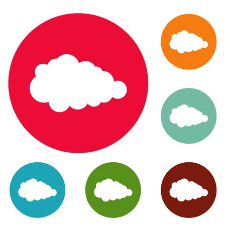 Overcast icons circle set vector isolated on white background