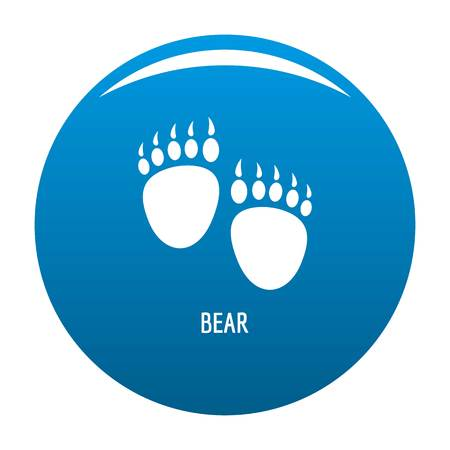 Bear step icon vector blue circle isolated on white background