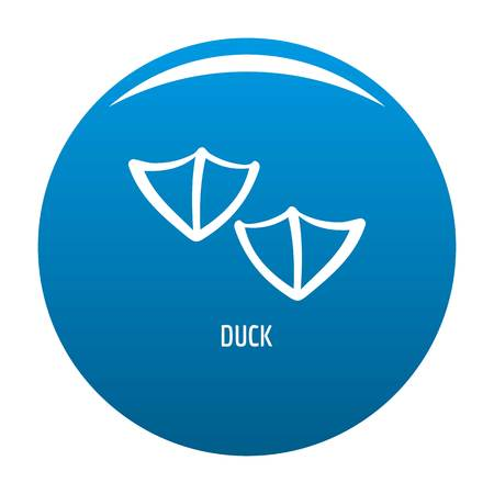 Duck step icon vector blue circle isolated on white background