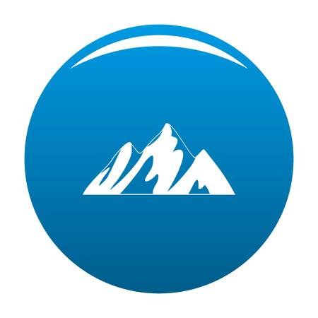 Top of mountain icon vector blue circle isolated on white background