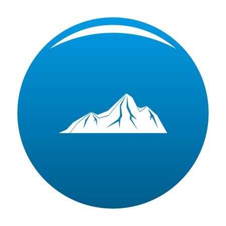Tall mountain icon vector blue circle isolated on white background