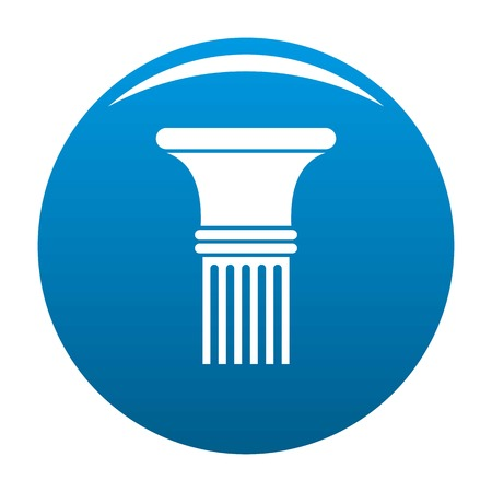 Fluted column icon vector blue circle isolated on white background