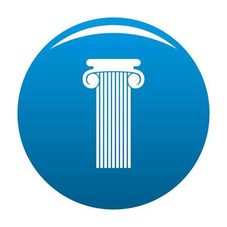 Roman column icon vector blue circle isolated on white background Illustration