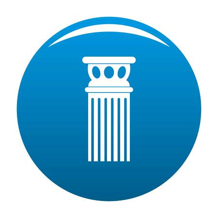 Ancient column icon vector blue circle isolated on white background  Illustration