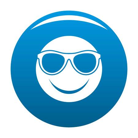 Smile icon vector blue circle isolated on white background Illustration