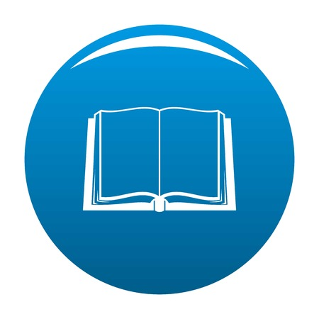 Book deployed icon vector blue circle isolated on white background