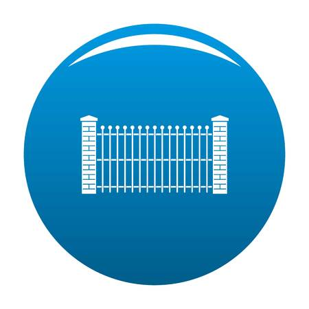 Brick and metal fence icon vector blue circle isolated on white background