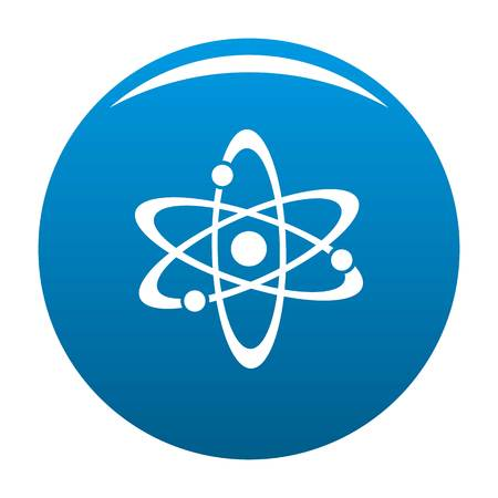 Atom icon vector blue circle isolated on white background