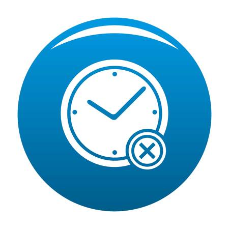 No time icon vector blue circle isolated on white background