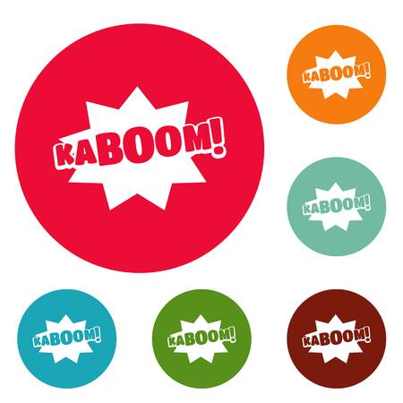 Comic boom kaboom icons circle set vector isolated on white background Illustration