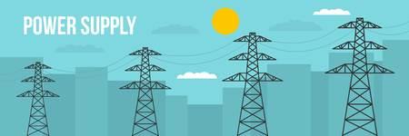 Power supply banner. Flat illustration of power supply vector banner for web