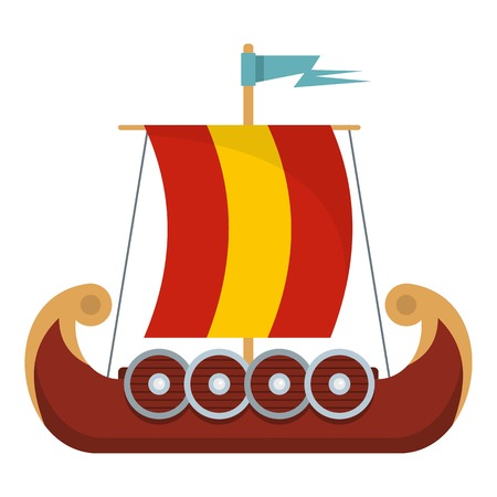 Flat illustration of pirate ship vector icon for web