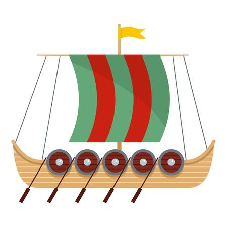 Flat illustration of galleon vector icon for web Illustration