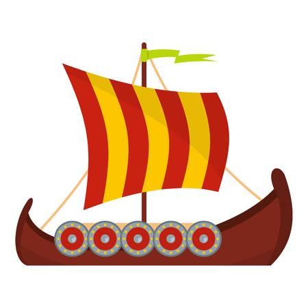 Scandinavian ship icon. Flat illustration of scandinavian ship vector icon for web Archivio Fotografico - 95328439