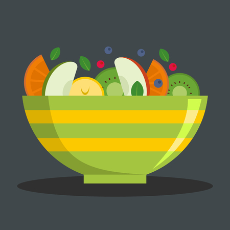 Vegetarian salad icon. Flat illustration of vegetarian salad vector icon for web Ilustração