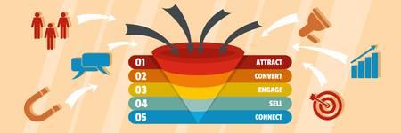 Funnel of target banner. Flat illustration of funnel of target vector banner for web Illustration