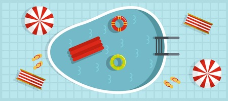 Summer pool banner. Flat illustration of summer pool vector banner for web  イラスト・ベクター素材