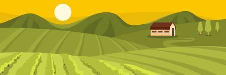 Large field banner. Flat illustration of large field vector banner for web Illustration
