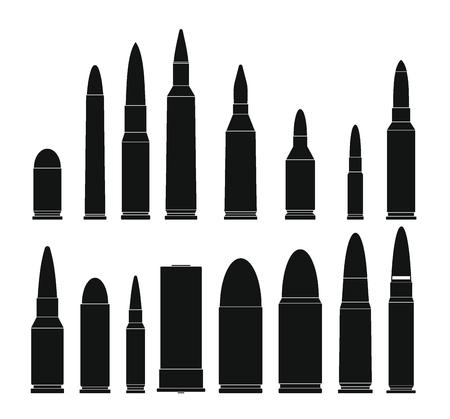 Bullet Gun militärische Symbole festgelegt. Einfache Illustration von 16 Kugelgewehrmilitärvektorikonen für Netz