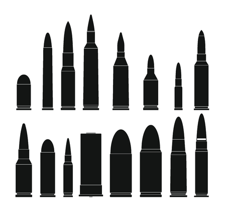 Bullet gun military icons set. Simple illustration of 16 bullet gun military vector icons for web